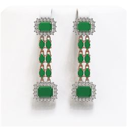 11.98 ctw Emerald & Diamond Earrings 14K Rose Gold