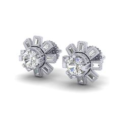 1.77 ctw VS/SI Diamond Solitaire Art Deco Stud Earrings 18K White Gold