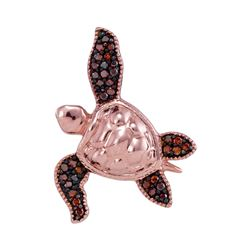 10kt Rose Gold Round Red Color Enhanced Diamond Sea Turtle Tortoise Pendant 1/10 Cttw
