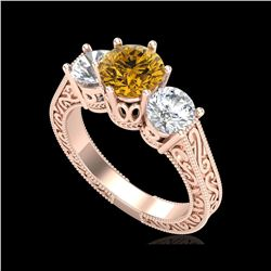 2.01 ctw Intense Fancy Yellow Diamond Art Deco Ring 18K Rose Gold