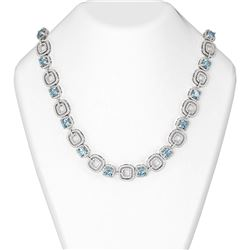 45.47 ctw Aquamarine & Diamond Necklace 18K White Gold