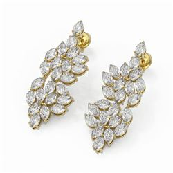 10 ctw Marquise Cut Diamond Designer Earrings 18K Yellow Gold