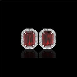 12 ctw Garnet And Micro Pave VS/SI Diamond Earrings 18K White Gold