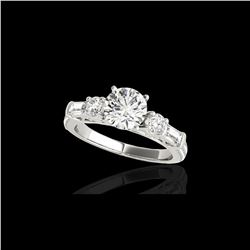 2.5 ctw Certified Diamond Pave Solitaire Ring 10K White Gold
