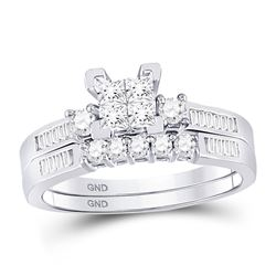 10kt White Gold Princess Diamond Bridal Wedding Engagement Ring Band Set 1/2 Cttw