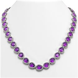43.2 ctw Amethyst & Diamond Micro Pave Halo Necklace 10K White Gold