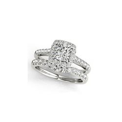 1.74 ctw Certified VS/SI Cushion Diamond 2pc Set Ring Halo 14K White Gold