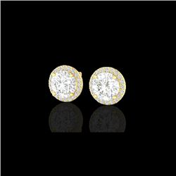 3.50 ctw Halo VS/SI Diamond Micro Pave Earrings 18K Yellow Gold