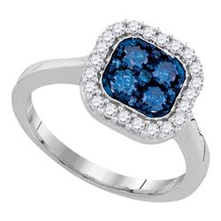 10kt White Gold Round Blue Color Enhanced Diamond Square Frame Cluster Ring 3/4 Cttw