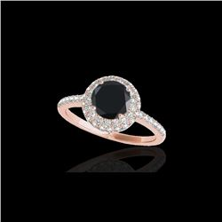 1.6 ctw Certified VS Black Diamond Solitaire Halo Ring 10K Rose Gold