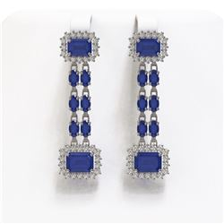 11.98 ctw Sapphire & Diamond Earrings 14K White Gold