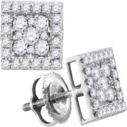 10kt White Gold Round Diamond Square Cluster Stud Earrings 1/2 Cttw