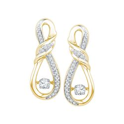 10kt Yellow Gold Round Diamond Moving Twinkle Solitaire Twist Ribbon Earrings 1/3 Cttw