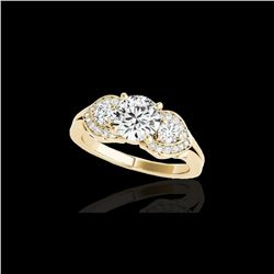 1.7 ctw Certified Diamond 3 Stone Ring 10K Yellow Gold