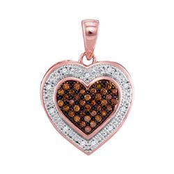 10kt Rose Gold Round Red Color Enhanced Diamond Heart Halo Pendant 1/8 Cttw