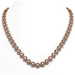 23.95 ctw Diamond Micro Pave Necklace 18K Rose Gold
