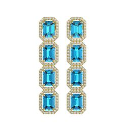 11.13 ctw Swiss Topaz & Diamond Micro Pave Halo Earrings 10K Yellow Gold