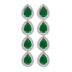 16.01 ctw Emerald & Diamond Micro Pave Halo Earrings 10K White Gold