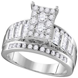 10kt White Gold Round Diamond Rectangle Cluster Bridal Wedding Engagement Ring 7/8 Cttw