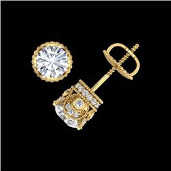 1.85 ctw VS/SI Diamond Solitaire Art Deco Stud Earrings 18K Yellow Gold