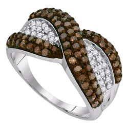 10kt White Gold Round Brown Diamond Crossover Stripe Band Ring 1.00 Cttw