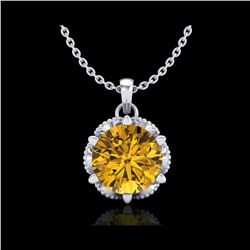 1.36 ctw Intense Fancy Yellow Diamond Art Deco Necklace 18K White Gold