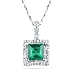 10kt White Gold Cushion Lab-Created Emerald Solitaire & Diamond Pendant 1-3/8 Cttw