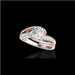 1.25 ctw Certified Diamond Bypass Solitaire Ring 10K White & Rose Gold