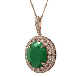 28.98 ctw Emerald & Diamond Victorian Necklace 14K Rose Gold