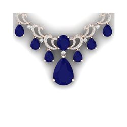 36.85 ctw Sapphire & VS Diamond Necklace 18K Rose Gold