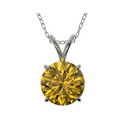 1.50 ctw Certified Intense Yellow Diamond Necklace 10K White Gold
