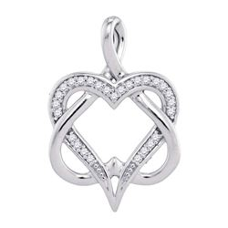 10k White Gold Round Diamond Double Heart Locked Pendant 1/10 Cttw
