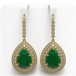 31.74 ctw Certified Emerald & Diamond Victorian Earrings 14K Yellow Gold