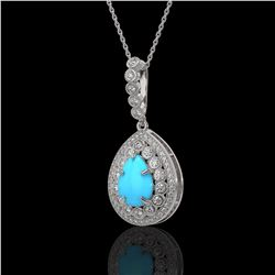 3.97 ctw Turquoise & Diamond Victorian Necklace 14K White Gold