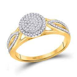10kt Yellow Gold Round Diamond Cluster Bridal Wedding Engagement Ring 1/4 Cttw