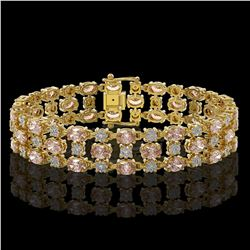 18.05 ctw Morganite & Diamond Bracelet 10K Yellow Gold