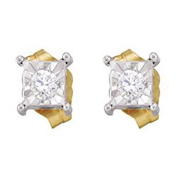10kt Yellow Gold Round Diamond Square-shape Stud Earrings 1/8 Cttw