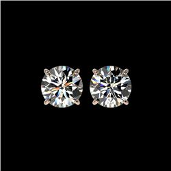 3 ctw Certified Diamond Solitaire Stud Earrings 10K Rose Gold