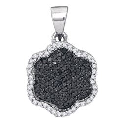 10kt White Gold Round Black Color Enhanced Diamond Hexagon Cluster Pendant 1/4 Cttw