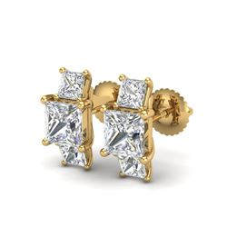 3.08 ctw Princess VS/SI Diamond Art Deco Stud Earrings 18K Yellow Gold