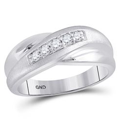 10kt White Gold Mens Round Diamond Diagonal Row Matte Band Ring 1/4 Cttw