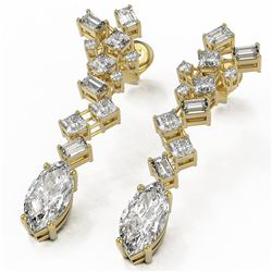 4 ctw Marquise Cut Diamond Designer Earrings 18K Yellow Gold