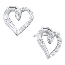 10kt White Gold Round Diamond Heart Stud Earrings 1/6 Cttw