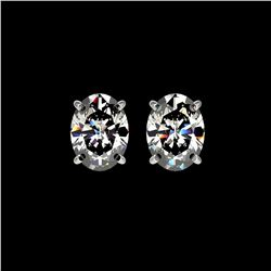 2.50 ctw Certified VS/SI Quality Oval Diamond Stud Earrings 10K White Gold