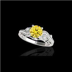 1.5 ctw Certified SI Intense Yellow Diamond Antique Ring 10K White Gold