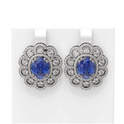 12.21 ctw Tanzanite & Diamond Earrings 18K White Gold