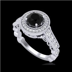 1.12 ctw Fancy Black Diamond Engagement Art Deco Ring 18K White Gold