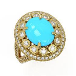 4.96 ctw Turquoise & Diamond Victorian Ring 14K Yellow Gold