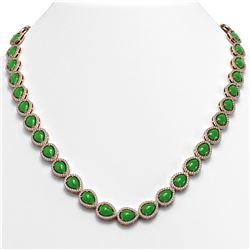 29.73 ctw Jade & Diamond Micro Pave Halo Necklace 10K Rose Gold