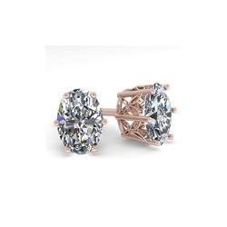 1.0 ctw Certified VS/SI Oval Diamond Stud Earrings 18K Rose Gold